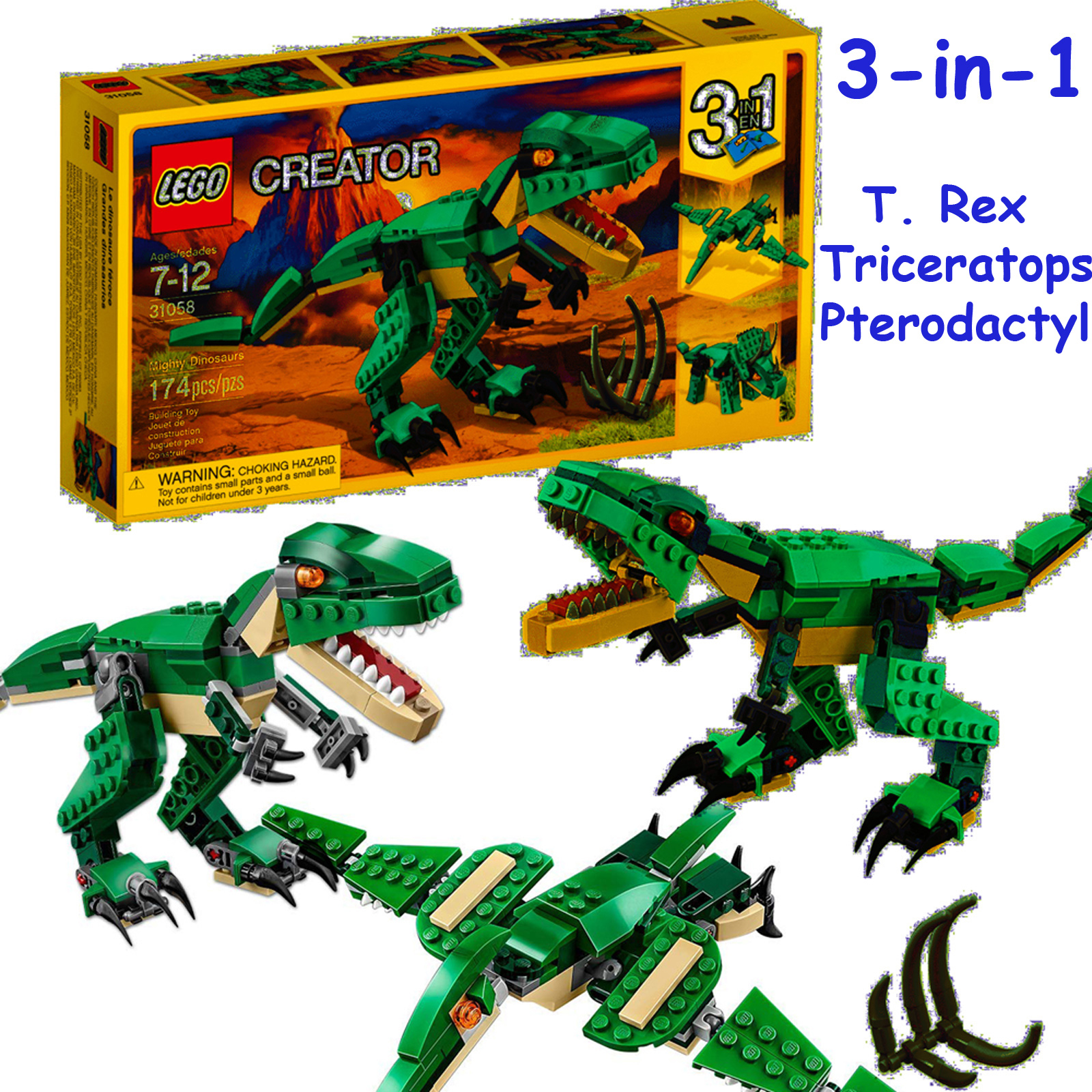 Lego Creator 31058 Mighty Dinosaurs 3 In 1 T Rex Or Triceratops Or