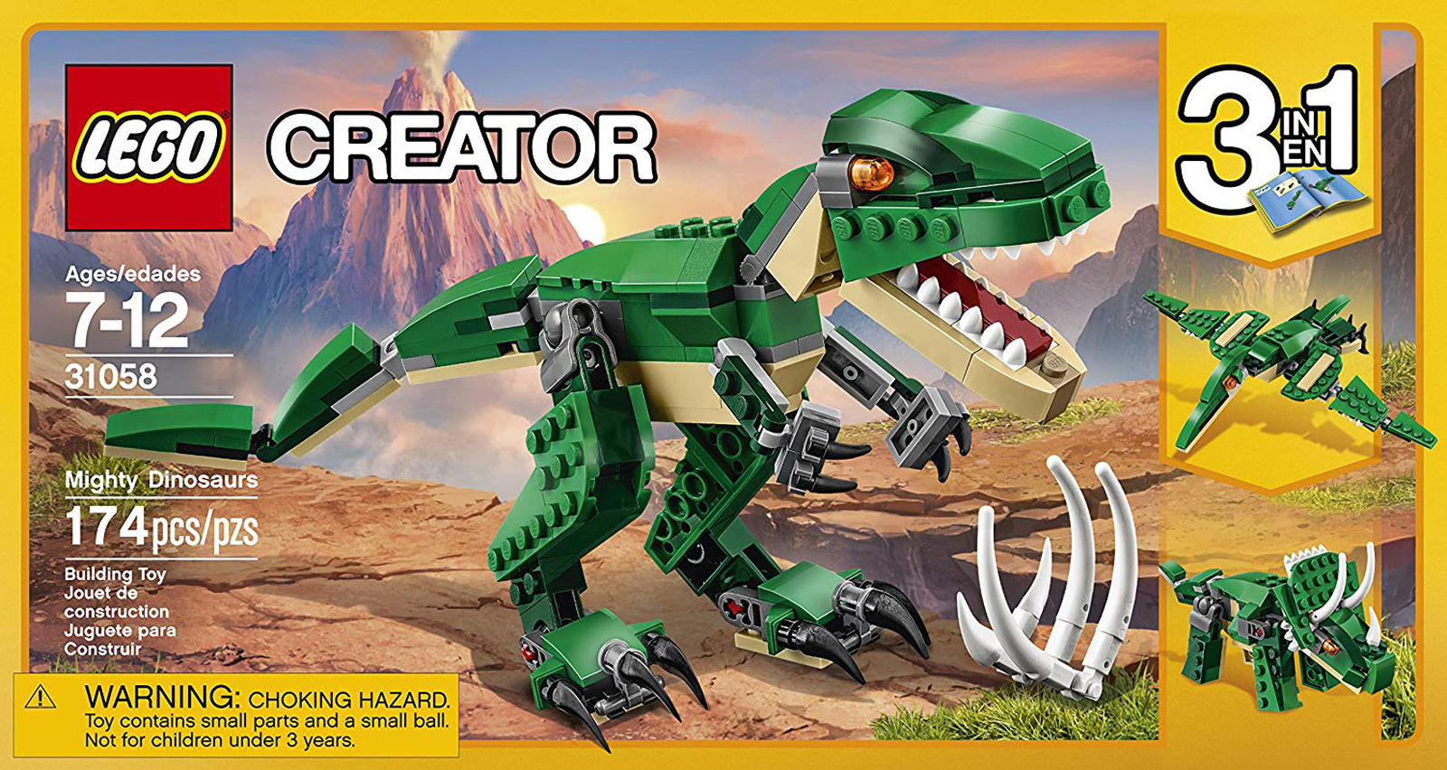 Dinosaurs Mdf Toy Box Childrens Storage Toys Games Books: LEGO Creator 31058 Mighty Dinosaurs 3-in-1 T. Rex Or