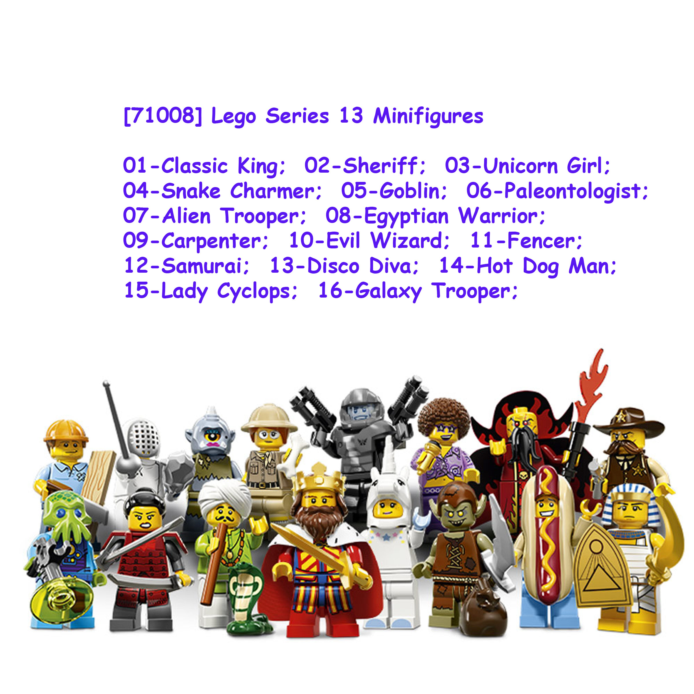 Lego 71008 Minifigure Series 13 Full Complete Set of 16 Collectible Unicorn Girl