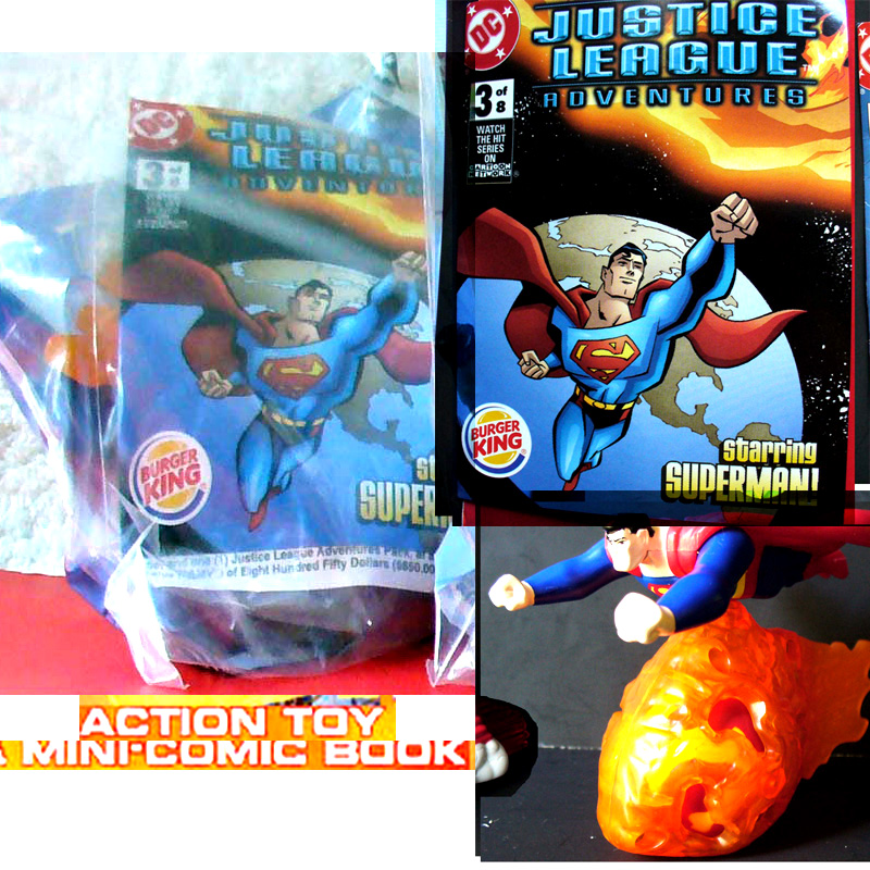 Burger King Justice League 4 Toy 2003 4-Superman + 4 Comic